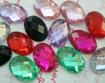 Colorful OVAL Faceted gems cabochons 14pcs