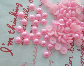 PINK Pearlized Round plastic cabochons rhinestones 5mm 3 grams about 100pcs