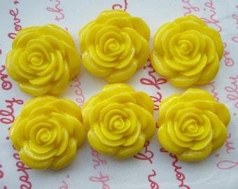 SALE YELLOW  rose cabochons 6pcs MJ 001 22mm