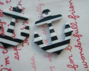 Acrylic  striped  ANCHOR charms 2pcs Black