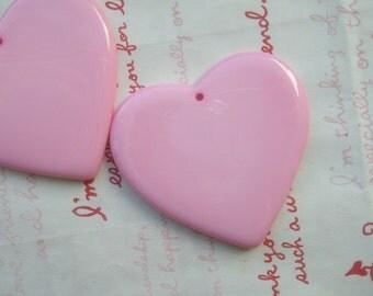 Large Plain Heart pendant 2pcs Light Pink  53mm X 52mm