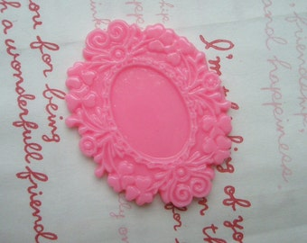 Dollar Sale Resin Floral cameo setting frame 2pcs  PINK