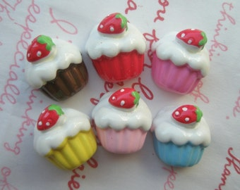 Cute simplel strawberry cupcake cabochons Set  6pcs