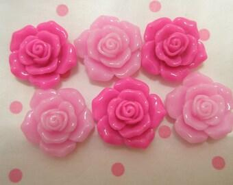 Pretty small rose cabochons 6pcs PINK TONES TA