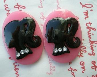 SALE Oval BARBIE cameo cabochons with rhinestones 2pcs 35mm x 25mm Darkpink Black