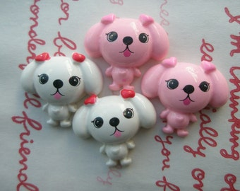 Round puppy cabochons 4pcs Pink White