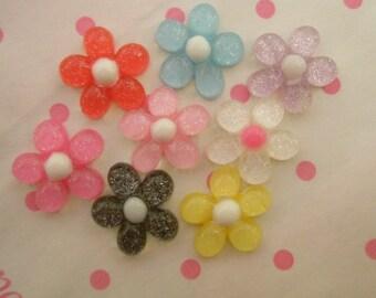 GLITTER Colorful Daisy flower cabochons Set 8pcs SIZE S