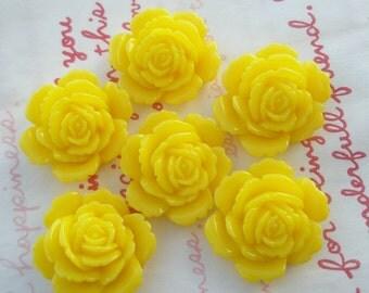ME--3 High Quality Rose cabochons 6pcs SUNSHINE YELLOW