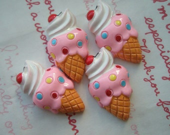 sale Creamy Ice cream cone cabochons 4pcs ( Cherry on top )