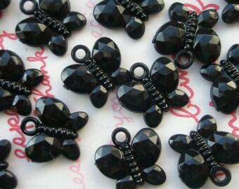 SALE BLACK Butterfly gem charms 15pcs