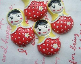 B GRADE Matryoshka Russian Doll Cabochons 4pcs RED YELLOW