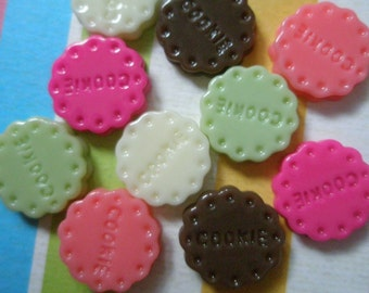 Small Round Cookie Biscuit cabochons Set 10pcs