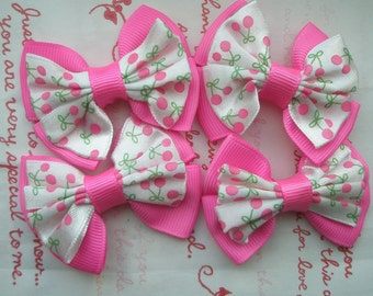 sale BIG bow with Cherry print ribbons SET 4pc Hot Pink