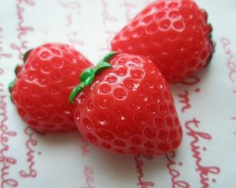 Juicy Chunky Strawberry cabochons 3pcs