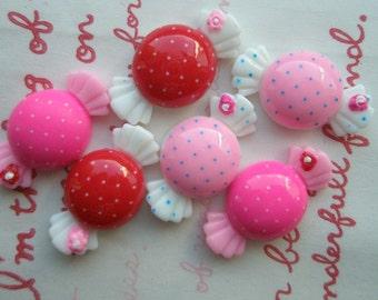 SALE Polka dots Candy cabochons Set 6pcs