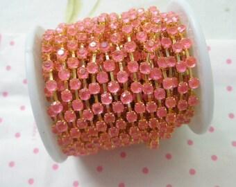 Pretty Pink rhinestone chain (Gold tone ) 4mm stone 50cm