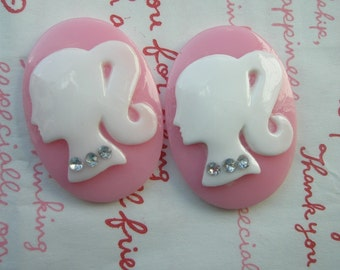 SALE Oval BARBIE cameo cabochons with rhinestones 2pcs 35mm x 25mm White Pink