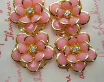 sale Fancy Flower cabochons Set 4pcs GOLD Frame PINK