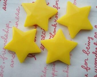 LARGE Star beads 4pcs YELLOW