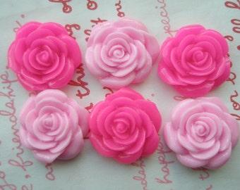 PINK Tone MIX  rose cabochons 6pcs MJ 001 22mm