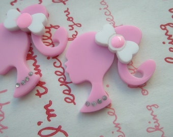 Acrylic Laser cut BARBIE with rhinestones cabochons 2pcs PINK Hight Quality