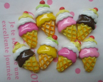 Small CUTE Ice Cream cone cabochons Set 8pcs