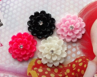 Dahlia flower cabochons with rhinestones 4pcs Solid colors 22mm