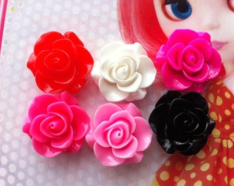 TA-006  Rose cabochons 6pcs 22mm