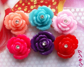 ROSE with Rhinestone in the middle 6pcs  Set A 20mm