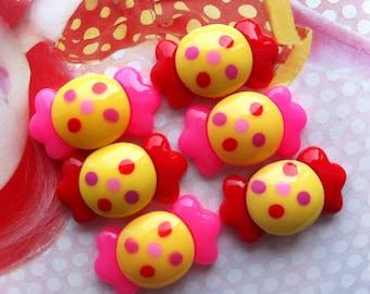 SALE Polka dots rund Candy cabochons Set 6pcs