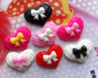 sale Small Bow on flat heart cabochons 7pcs Size small