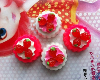 Miniature Strawberry Tart cabochons 4pcs Set A