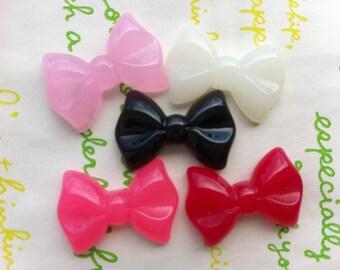 Medium Plain bow cabochons 5pcs ( 5 different colors )