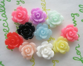 Tiny rose cabochons 10pcs  9mm