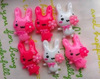 sale Flower eyed bunny cabochons set 6pcs