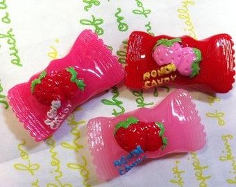 Chunky Strawberry Candy cabochons Set 3pcs (Nondi candy)