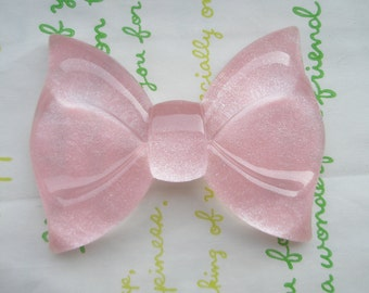 sale GLITTER Huge  bow cabochon 1pc  Light pink