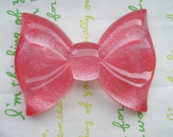 GLITTER Huge  bow cabochon 1pc  RED