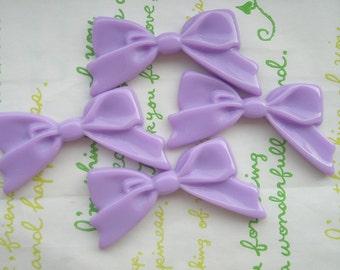 Plain Tied bow cabochons 4pcs Lavender