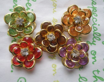 sale CLEAR Small Fancy Flower cabochons Set 5pcs Set B GOLD Frame LIMITTED