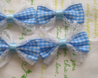 Lacey Gingham bows 4pcs Blue
