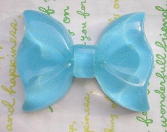 Huge Glitter bow cabochon 1pc BLUE