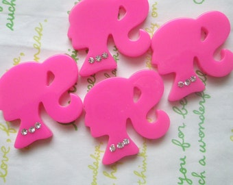 SALE Plain Ponytail barbie cabochon with rhinestones Set 4pcs Hot pink