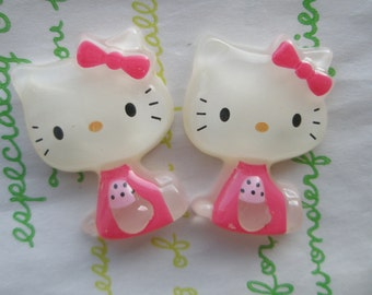 Cat with bow cabochon 2pc 30mm x 22mm