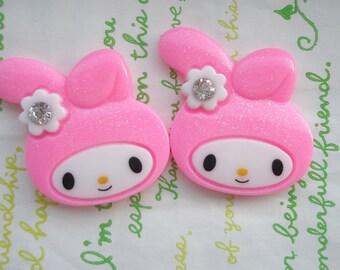 SALE Big Glitter Bunny cabochon 2pcs 39mm x 34mm ( Flat ) Bright pink