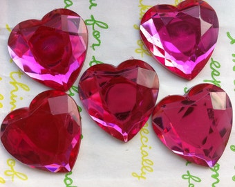 Big Clear HOT Pink faceted Heart shaped gems cabochons 25mm 5pcs
