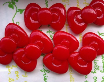 SALE B Grade Cute Round Chunky bow cabochons 4pcs RED  ME with Flaws