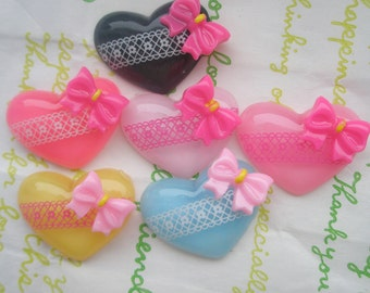 Clear Lacey Heart with  bow a set 6pcs