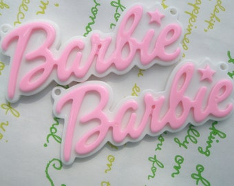 Large Barbie Plate pendant charms 2pcs Light Pink 64mm x 27mm