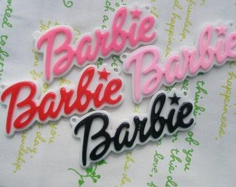 Large Barbie Plate pendant charms 4pcs Mix 64mm x 27mm